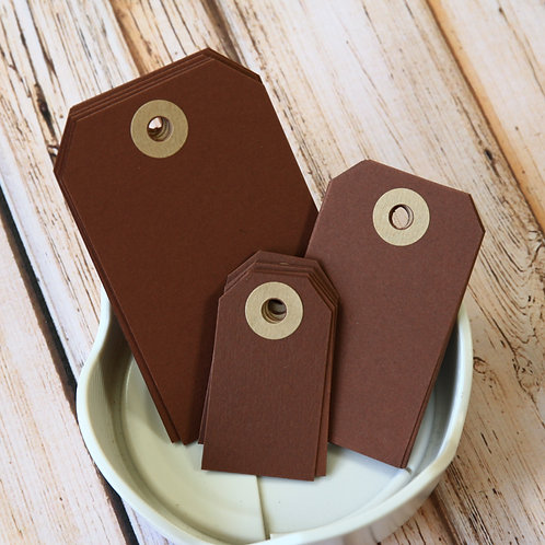 chocolate brown colour luggage tags