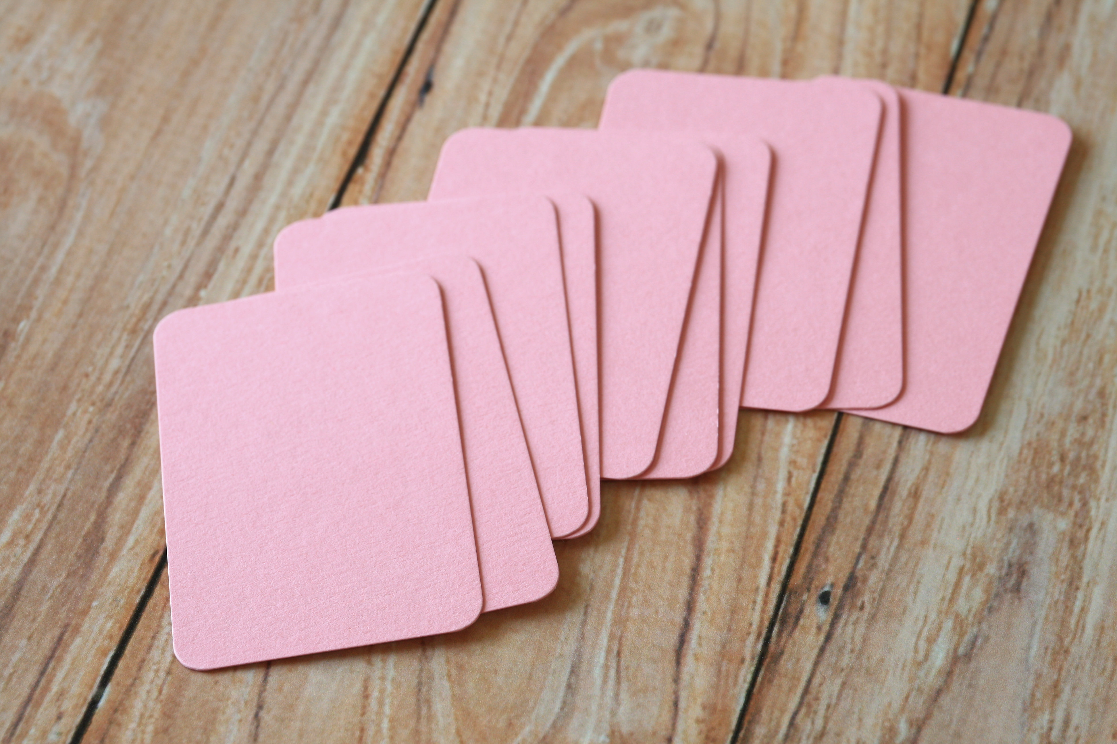 Pastel pink blank business cards very eco friendly these are ready to use for customized stamped business name cards hang tags mini post cards or reheart Choice Image
