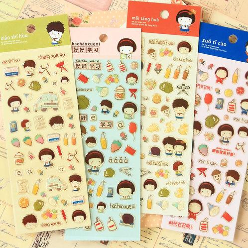 childhood memories cartoon puffy stickers