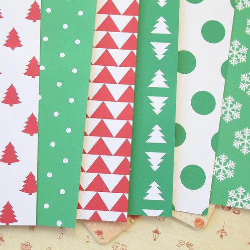 set 10 christmas patterns printed card stock