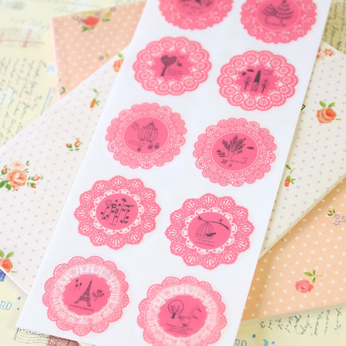 cherry pink fancy lace round deco stickers