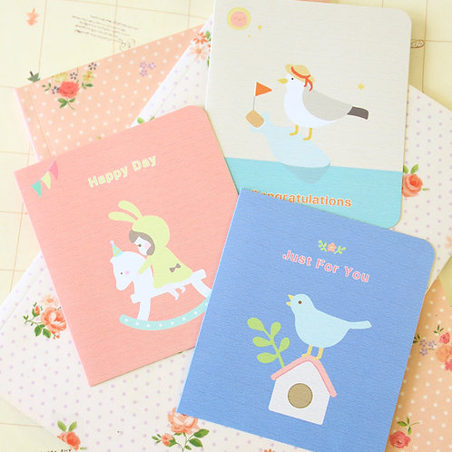 cute cartoon greeting cards bird horse seagull