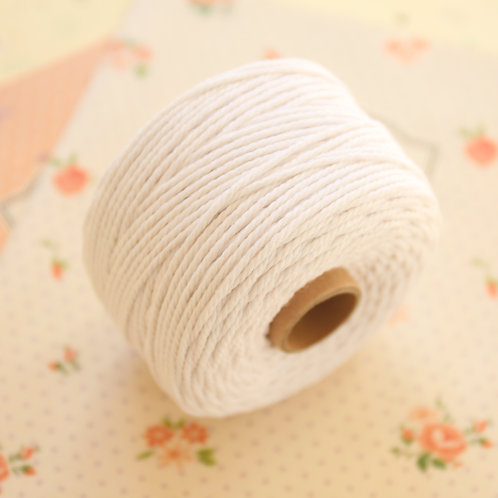 white twisted cotton bakers twine 80m