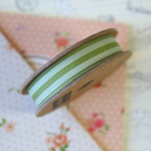 jane means fern green stripe grosgrain ribbon