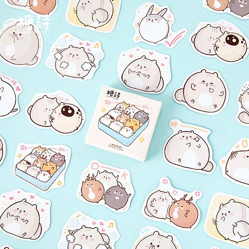 small fat rat candy poetry cartoon cute shapes stickers