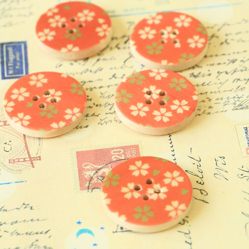 orange flowers printed wooden buttons