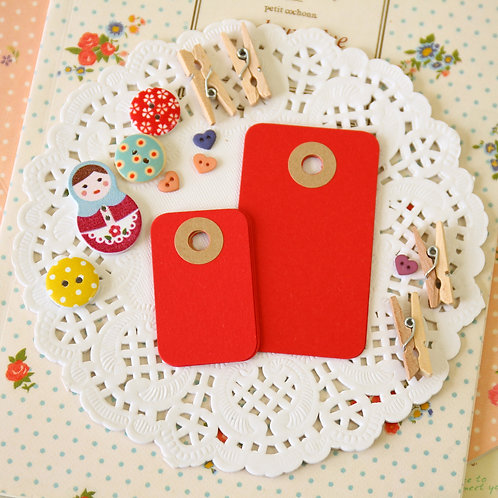 scarlet red rounded rectangle tags