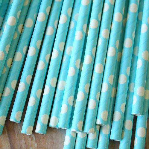 solid light blue big dots paper straws