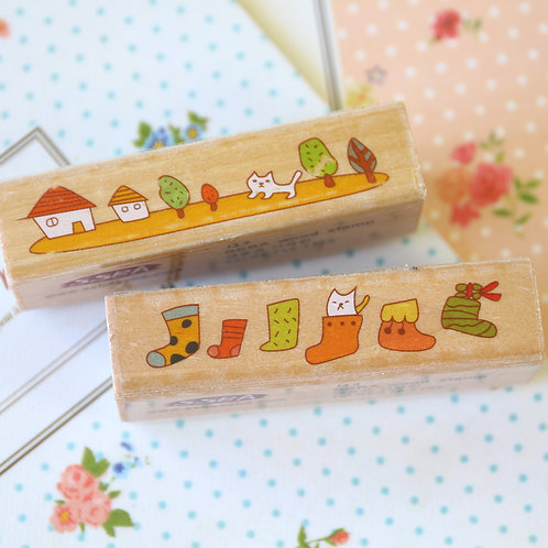 ssba cute cat cartoon rubber stamps