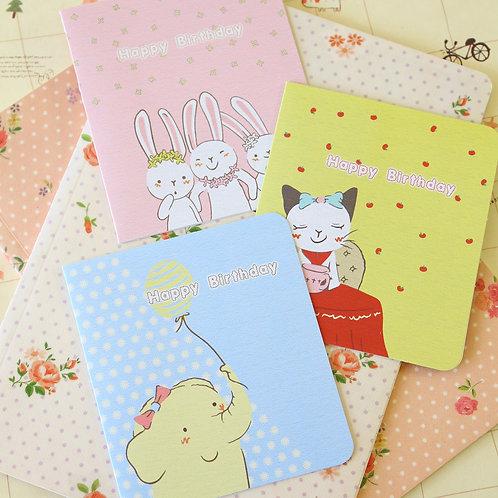 cute cartoon greeting cards elephant cat bunnies