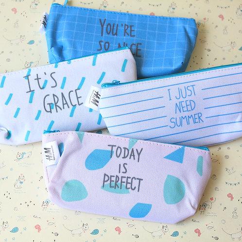 blue raindrop pen bag