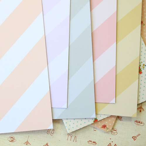 set 03 pastel ice cream stripes mix printed card stock