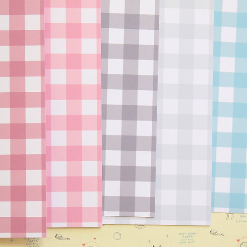 set 04 colorful gingham mix printed card stock