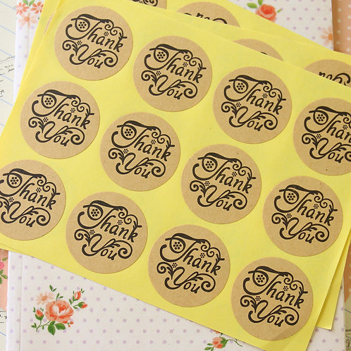 fancy thank you kraft brown sticker seals