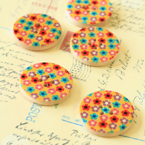 multi colour flowers printed wooden buttons