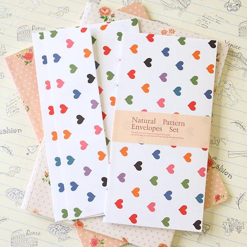bright hearts natural pattern envelopes