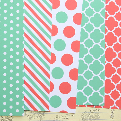 set 03 coral mint mix printed card stock