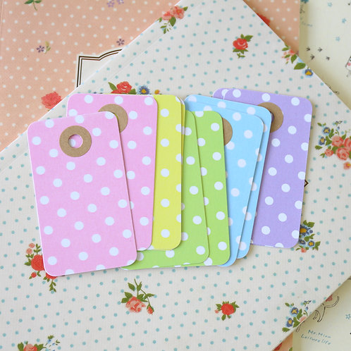 white polka dot pastel rounded rectangle tags