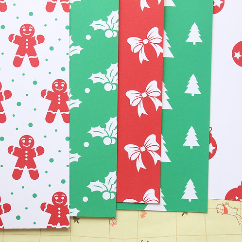 set 01 red and green christmas mix printed card stock