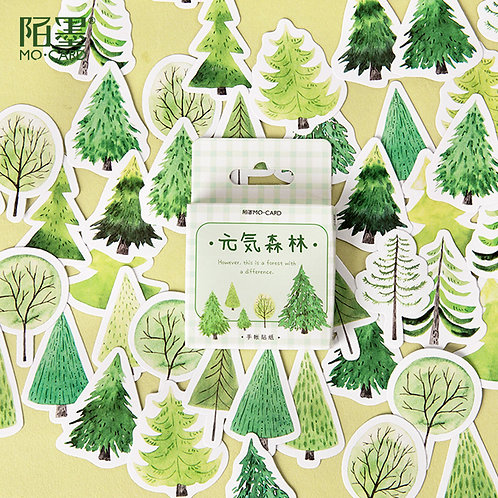 green forest mo-card cartoon shapes stickers