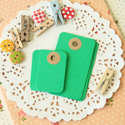 emerald green rounded rectangle tags