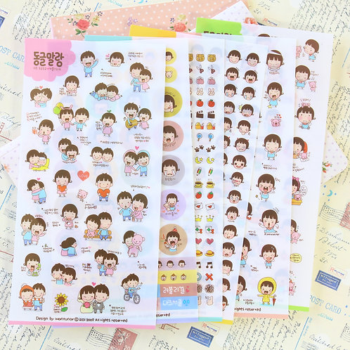 cute girl cartoon kids stickers