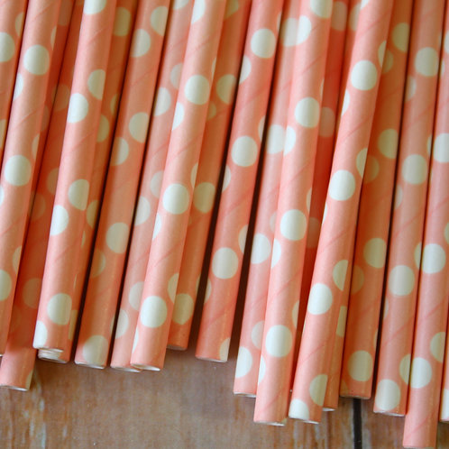 solid light pink big dots paper straws
