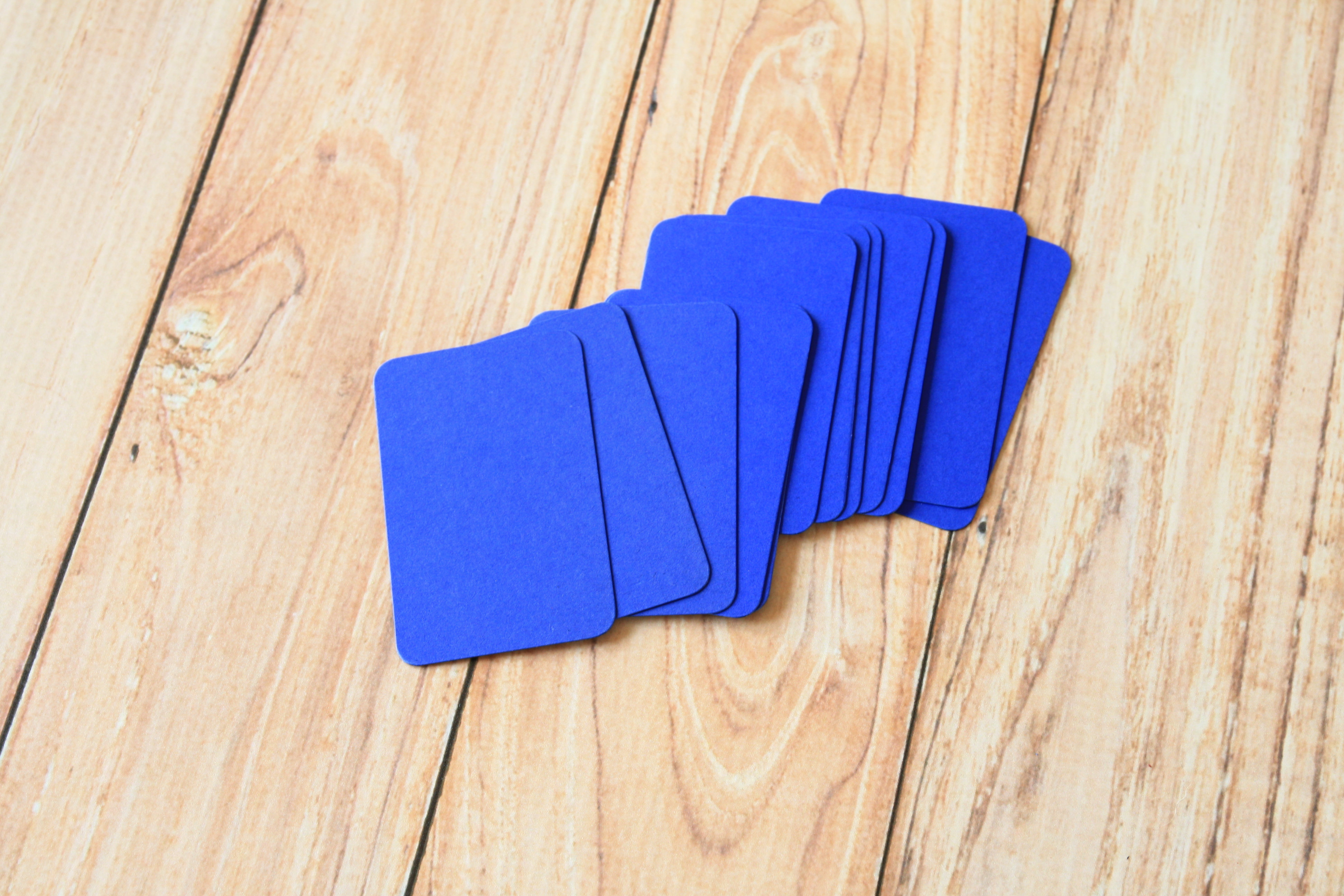 Royal blue blank business cards very eco friendly these are ready to use for customized stamped business name cards hang tags mini post cards or reheart Choice Image