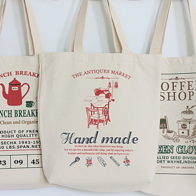 handmade antique market canvas tote bag