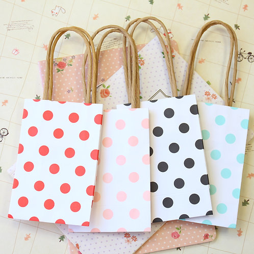 polka dot small paper gift bags