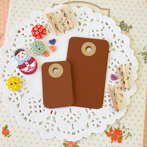 chocolate brown rounded rectangle tags