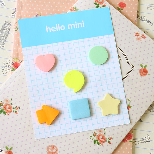 hello mini pastel shapes sticky notes