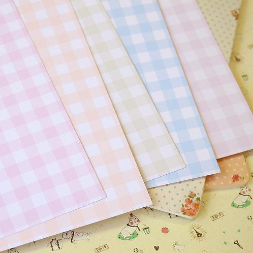 set 02 pastel gingham mix printed card stock