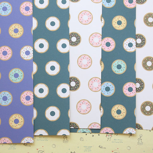 set 02 cute donut patterns printed card stock