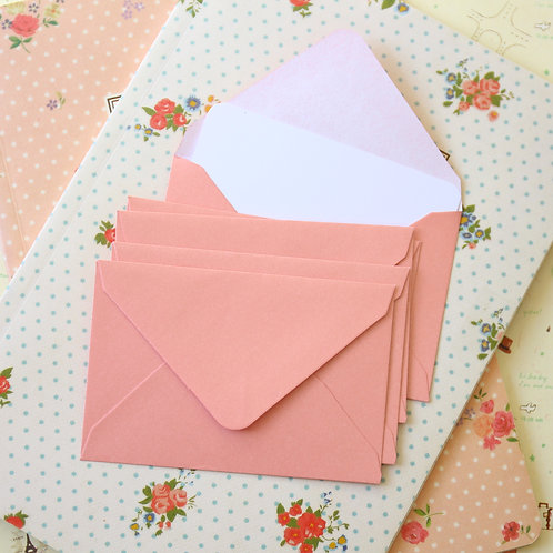 baby pink pearlescent mini envelopes & notecards