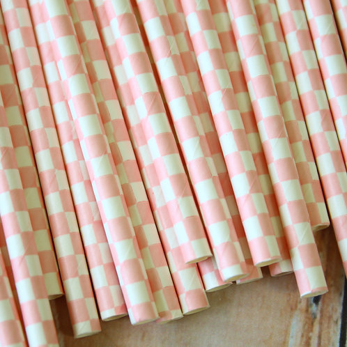 light pink checkers paper straws