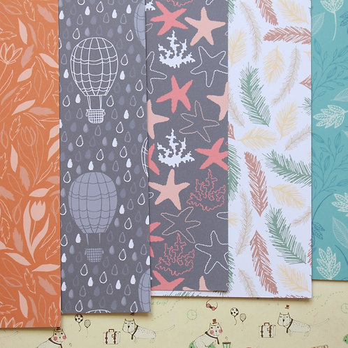set 10 japanese forest mix printed card stock