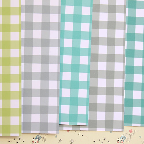 set 06 colorful gingham mix printed card stock
