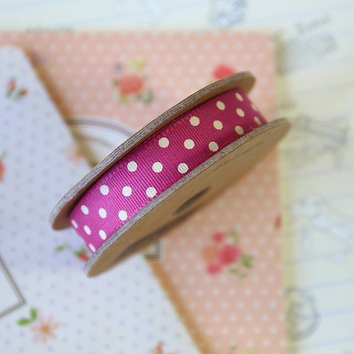 jane means raspberry pink polka dot ribbon
