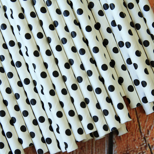 black swiss dots paper straws