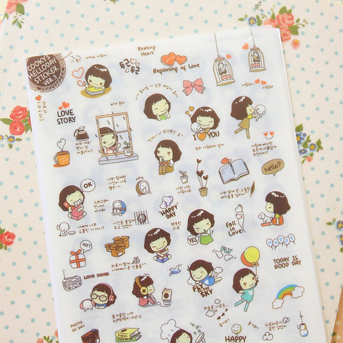 cookys girl hello day cartoon stickers set ver 03