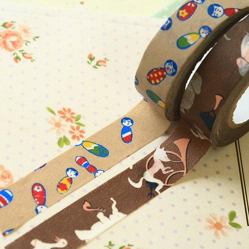 brown classiky yonagado cartoon washi tapes