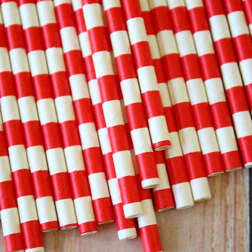 red circle stripe paper straws