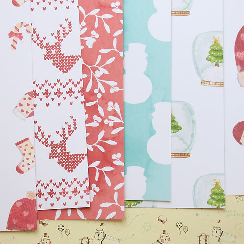 set 03 happy christmas mix cartoon printed card stock