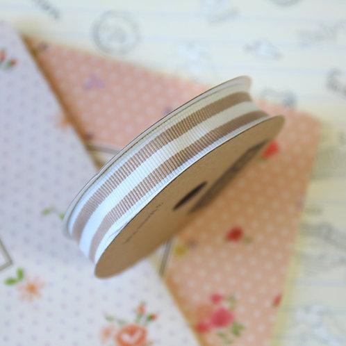 jane means beige brown stripe grosgrain ribbon
