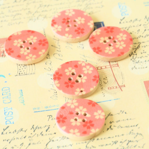 pink flowers printed wooden buttons