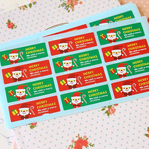 little santa christmas cartoon sticker seals