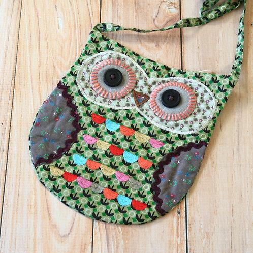 green ditsy owl vintage floral shoulder bag