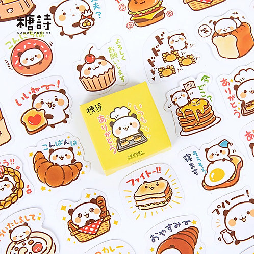 panda baker candy poetry cartoon cute shapes stickers