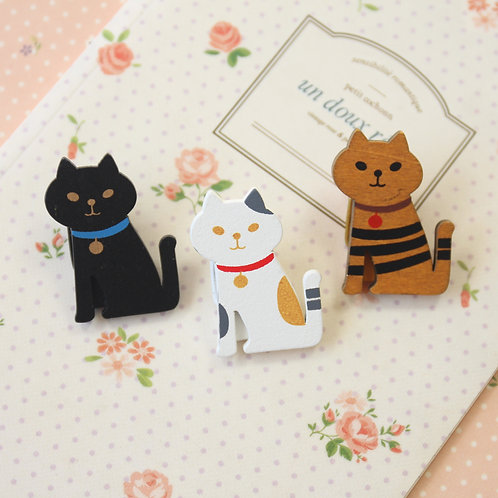 little cats wooden pegs note clips